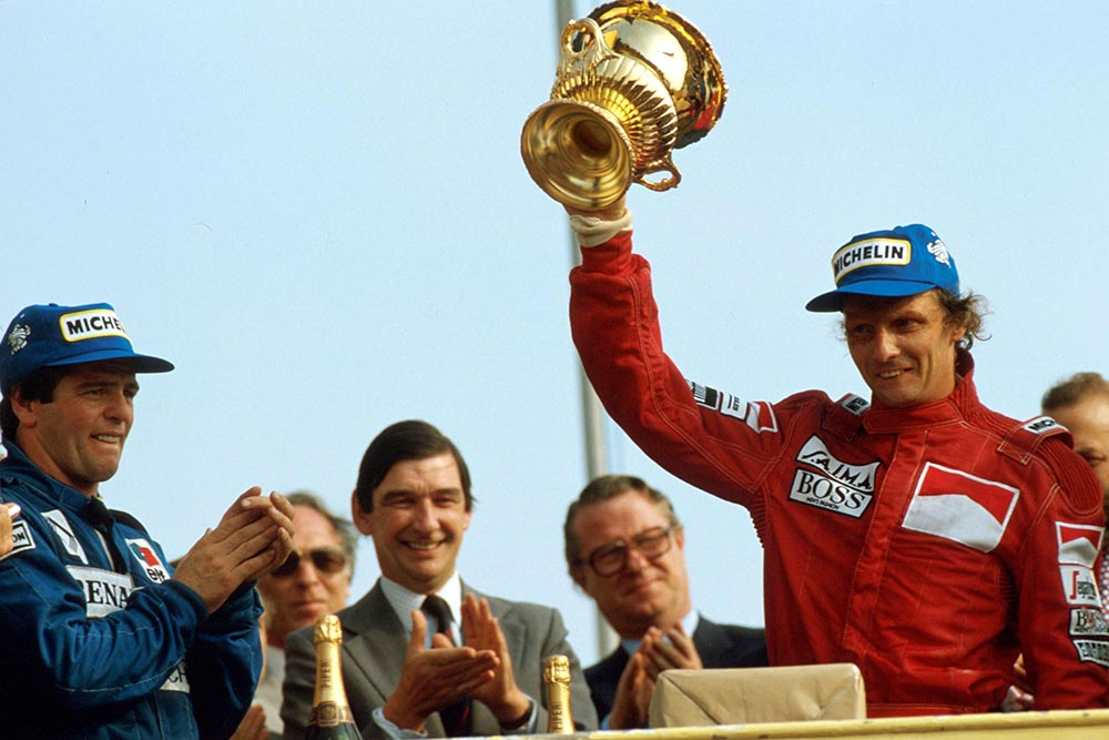 Niki Lauda on the podium.