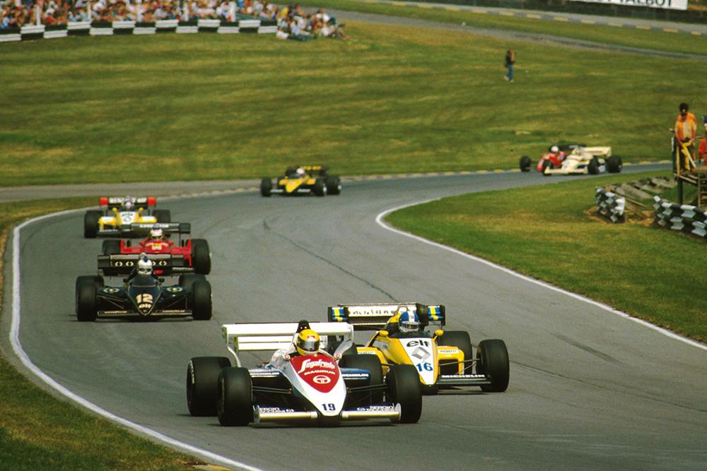 Ayrton Senna in 3rd in his Toleman TG184.