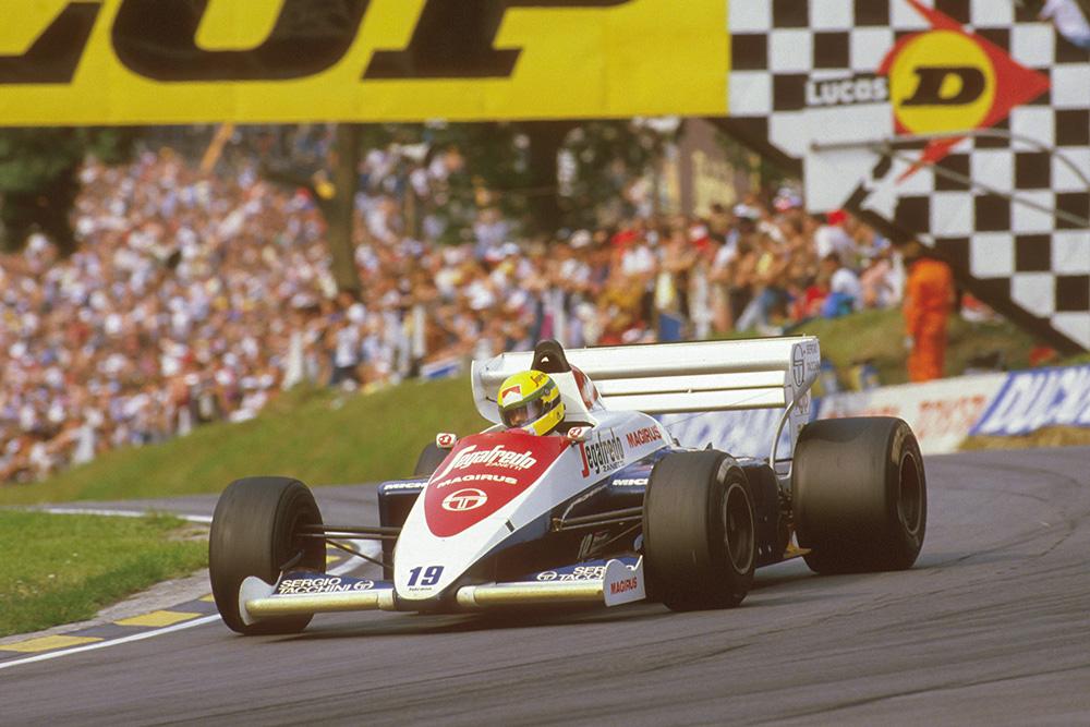 Ayrton Senna in his Toleman TG184 Hart at Druids.