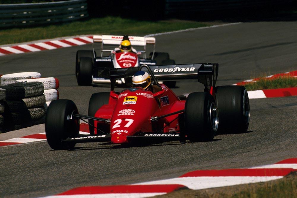 Michele Alboreto ahead of Ayrton Senna.