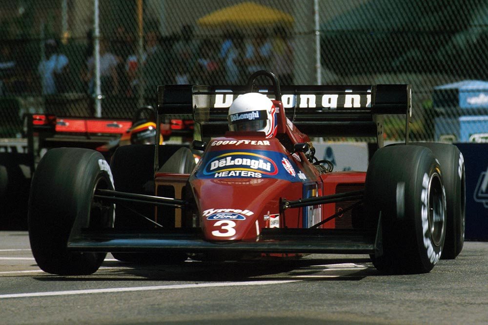 Martin Brundle driving his Tyrrell 012, he was disqualified for a technical infringement.