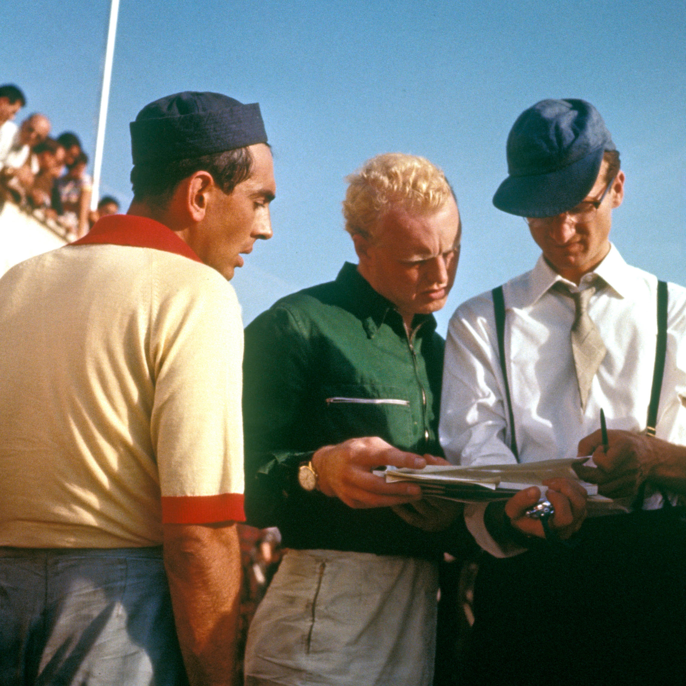 Luigi-Musso-with-Mike-Hawthorn-and-Romolo-Tavoni