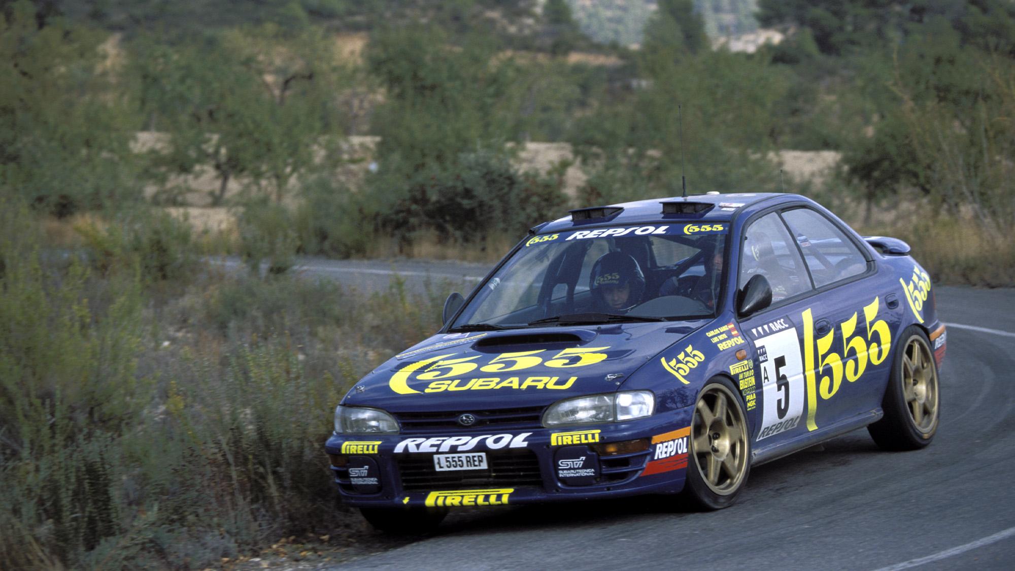 Carlos Sainz's Subaru on the 1995 Rally Catalunya in Spain