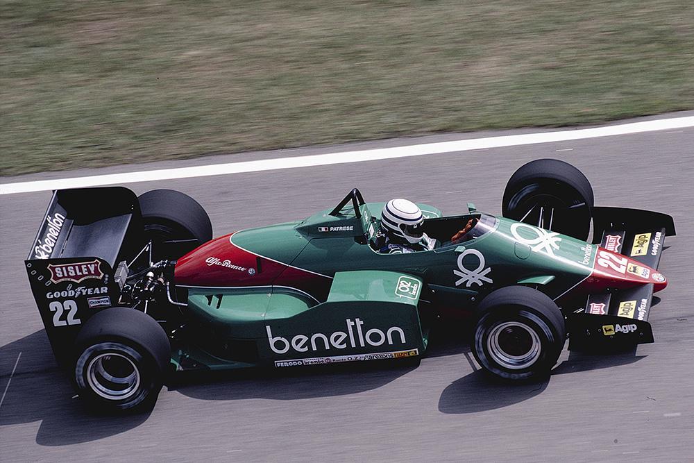 Riccardo Patrese at the wheel of his Alfa Romeo 185T.