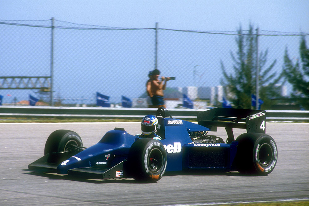 Stefan Johansson drives his Tyrrell 012 Ford.
