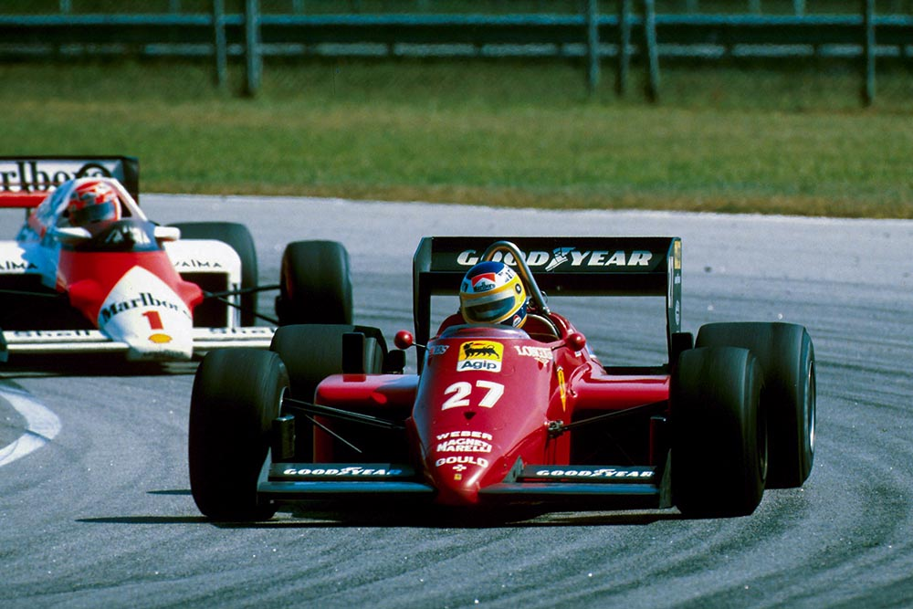 Michele Alboreto in his Ferrari 156/85.