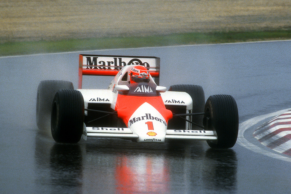 Niki Lauda in a McLaren MP4/2B, he retired from the race.