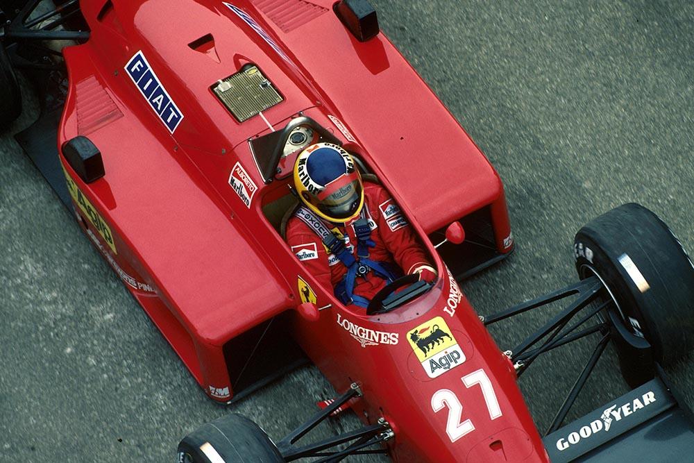 Michele Alboreto driving his Ferrari 156/85.