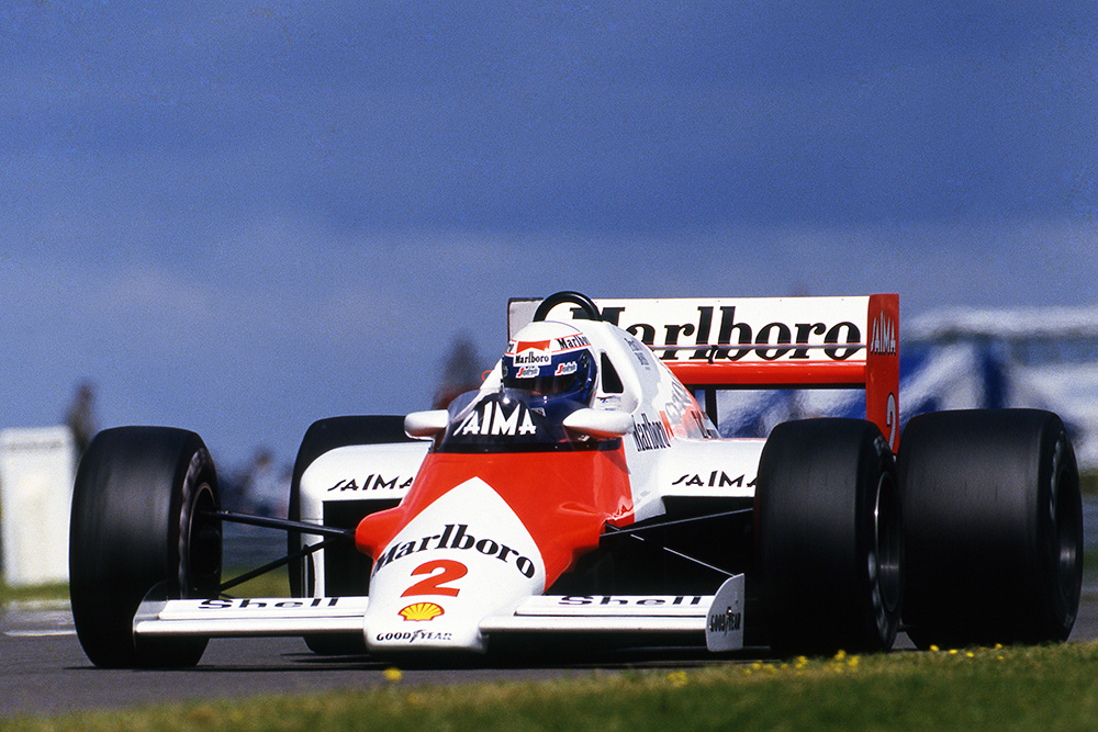 Alain Prost McLaren MP4/2B preserved his fuel better than the rest to claim victory.