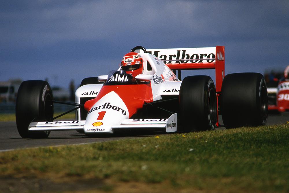 Niki Lauda in his McLaren MP4/2B.