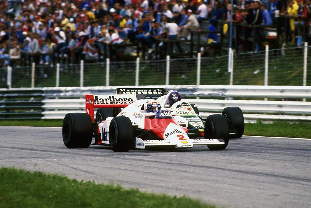 Winner Alain Prost at the wheel of his McLaren MP4/2B.