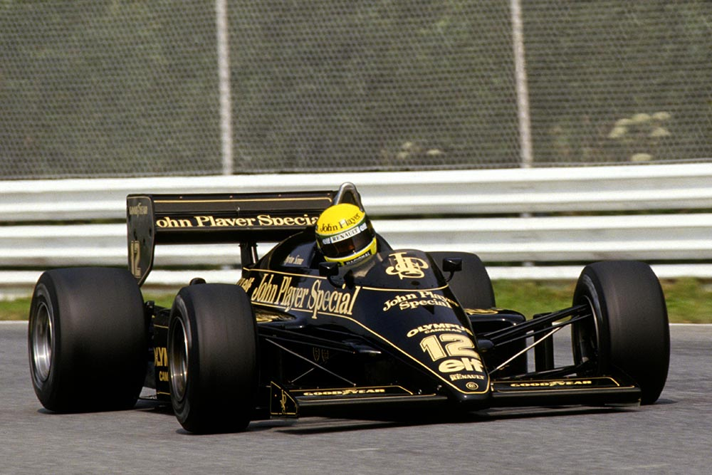 Ayrton Senna driving a Lotus 97T qualified in 14th but stormed through the field to take second at the finish.