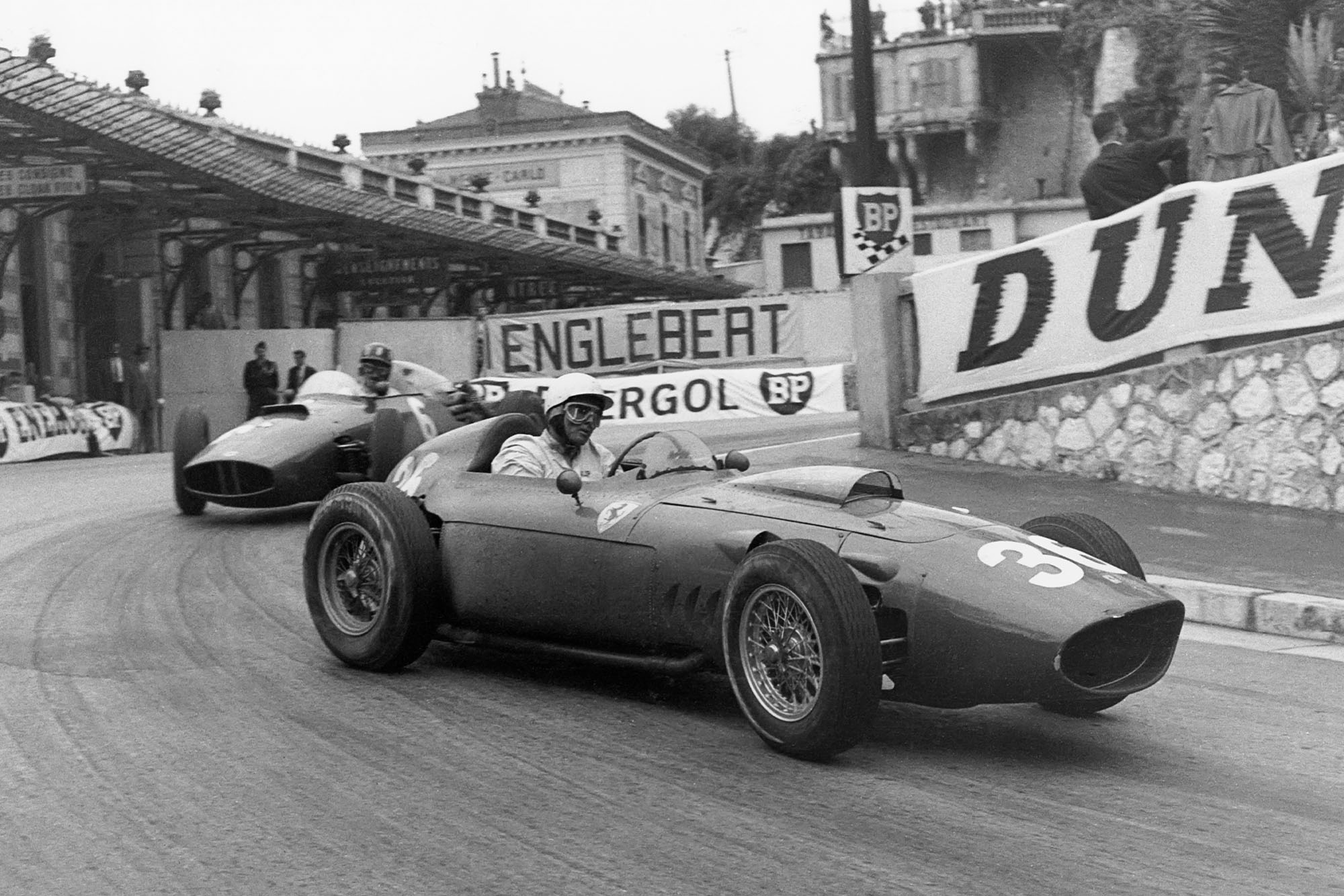 Phil Hill, Graham Hill, Ferrari 246, BRM P48, Grand Prix of Monaco, Circuit de Monaco, 29 May 1960. Phil Hill and Graham Hill, two future World Champions racing in the streets of Monaco on the occasion of the 1960 Grand Prix of Monaco. (Photo by Bernard Cahier/Getty Images)