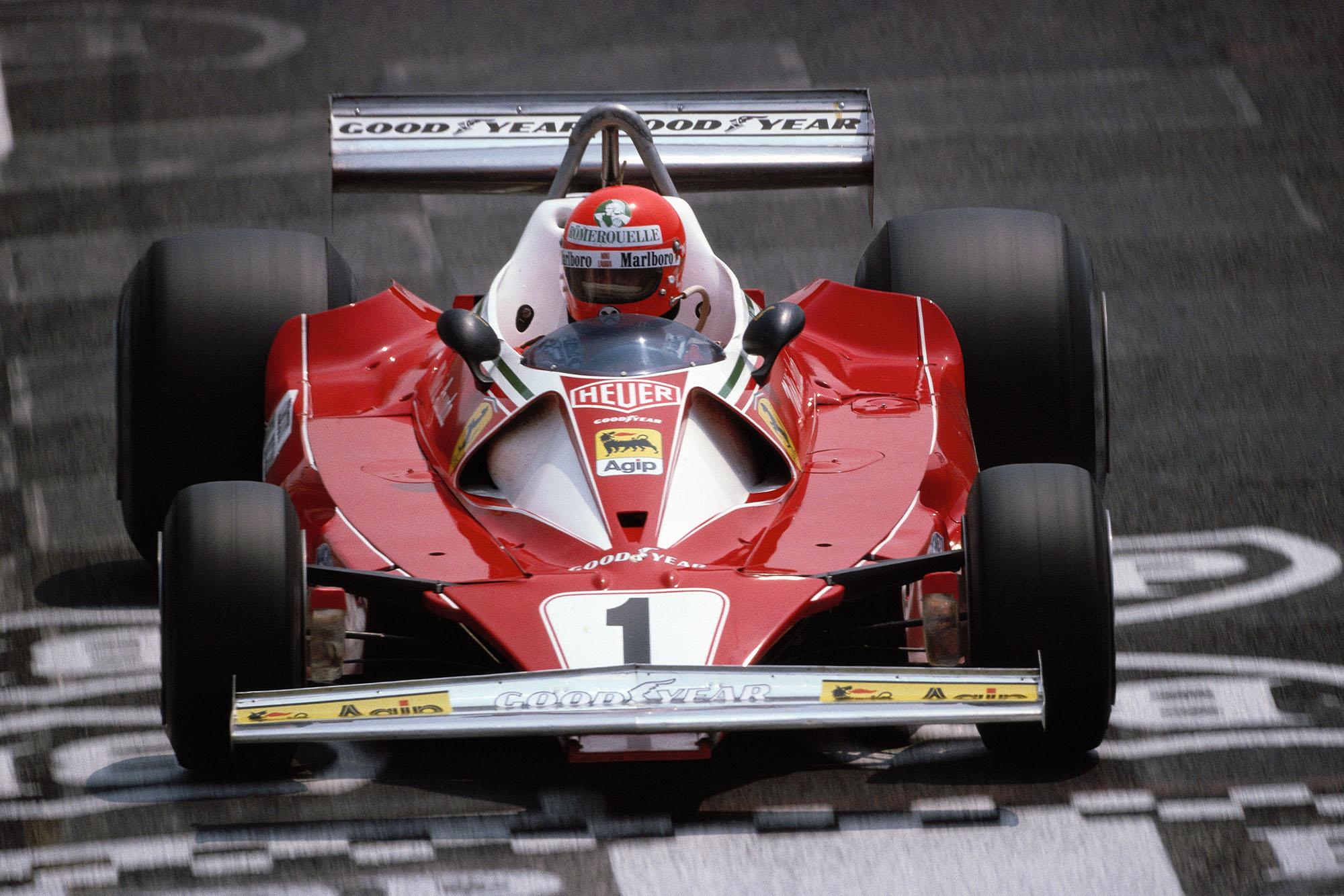 Ferrari's Niki Lauda at the 1976 French Grand Prix, Paul Ricard.