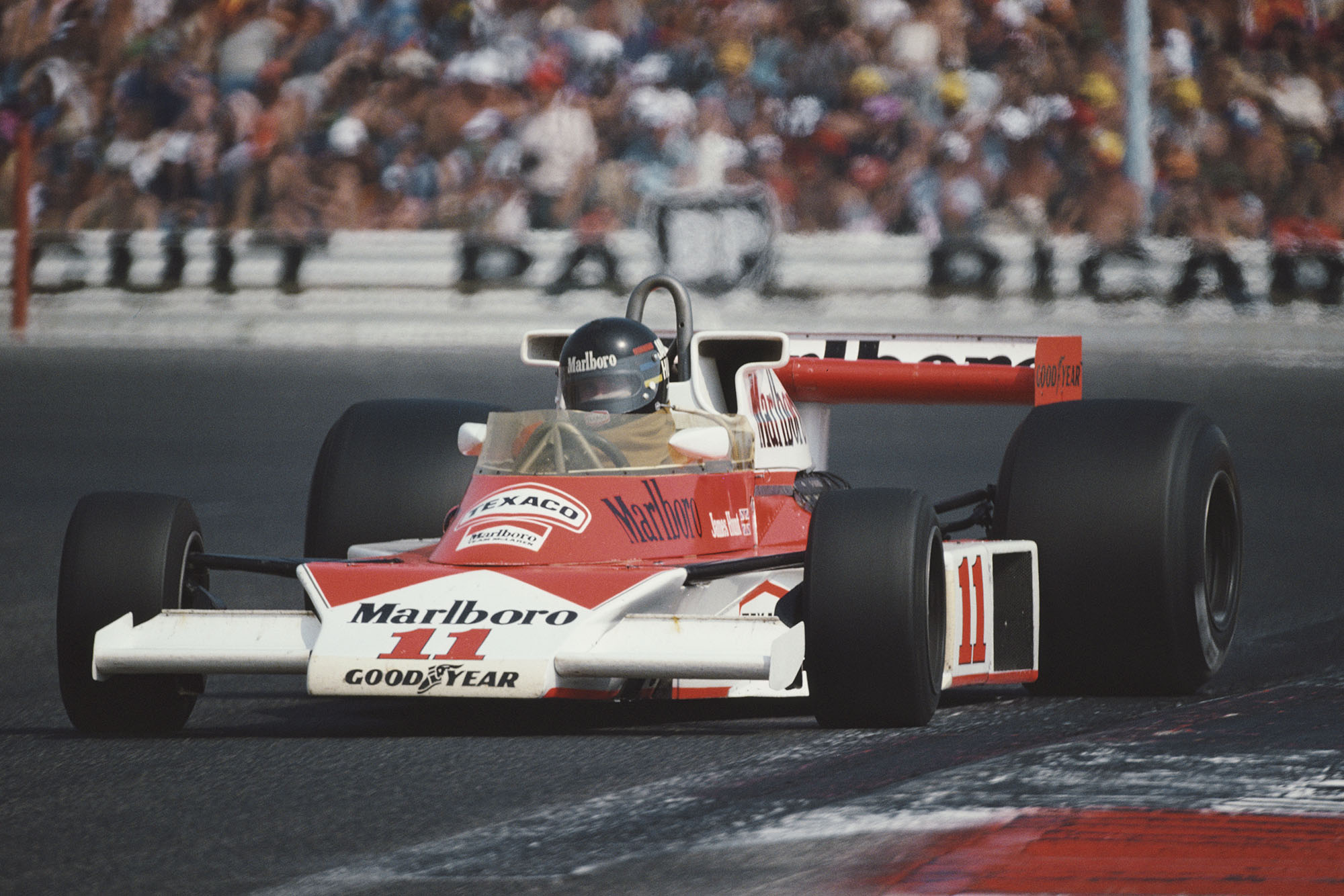 James Hunt (McLAren) at the 1976 French Grand Prix, Paul Ricard.