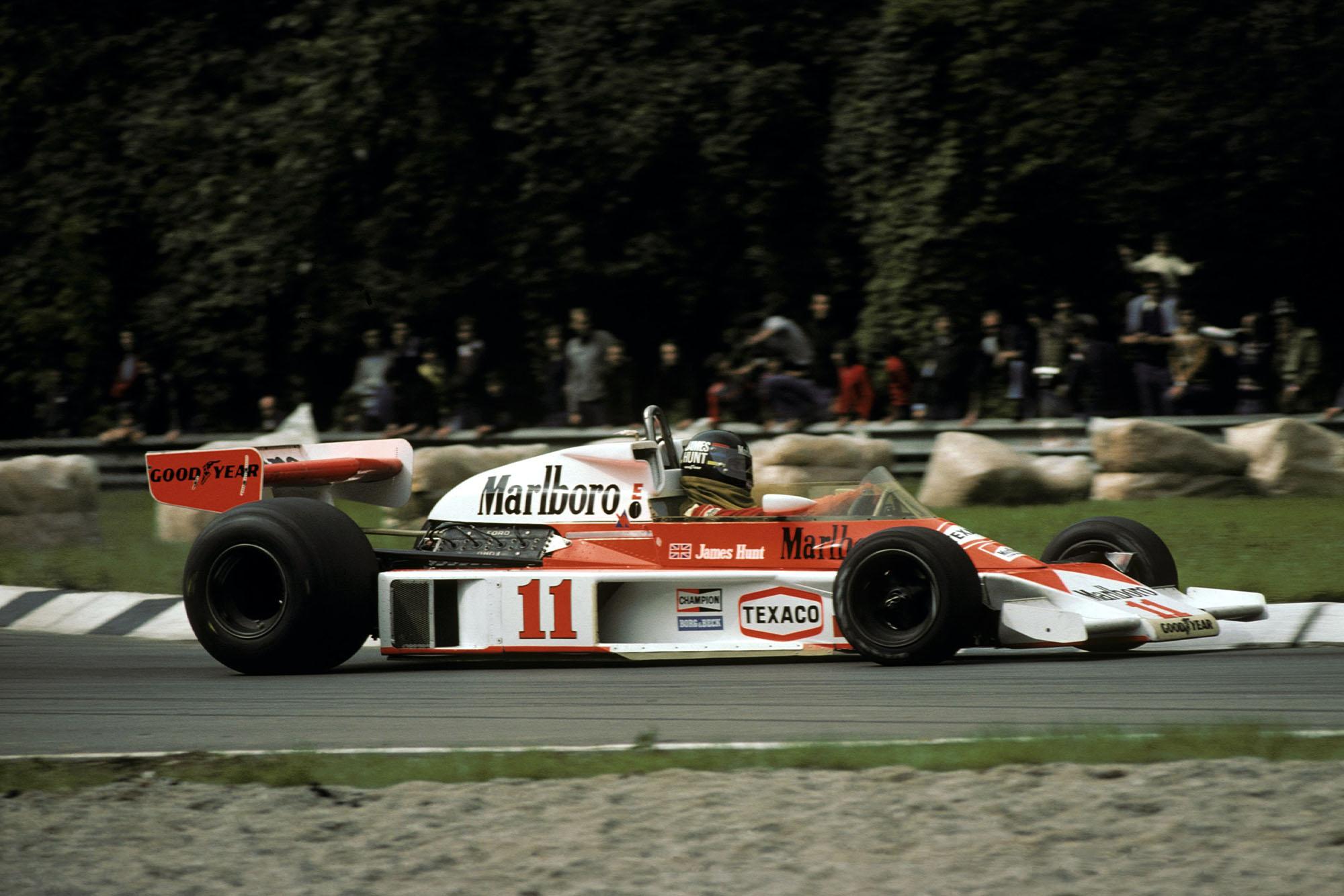James Hunt (McLaren) spun off on Lap 11, 1976 Italian Grand Prix, Monza.