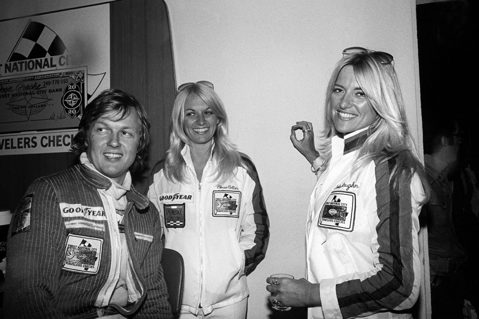 Ronnie Peterson (March) celebrates his win at the 1976 Italian Grand Prix, Monza.