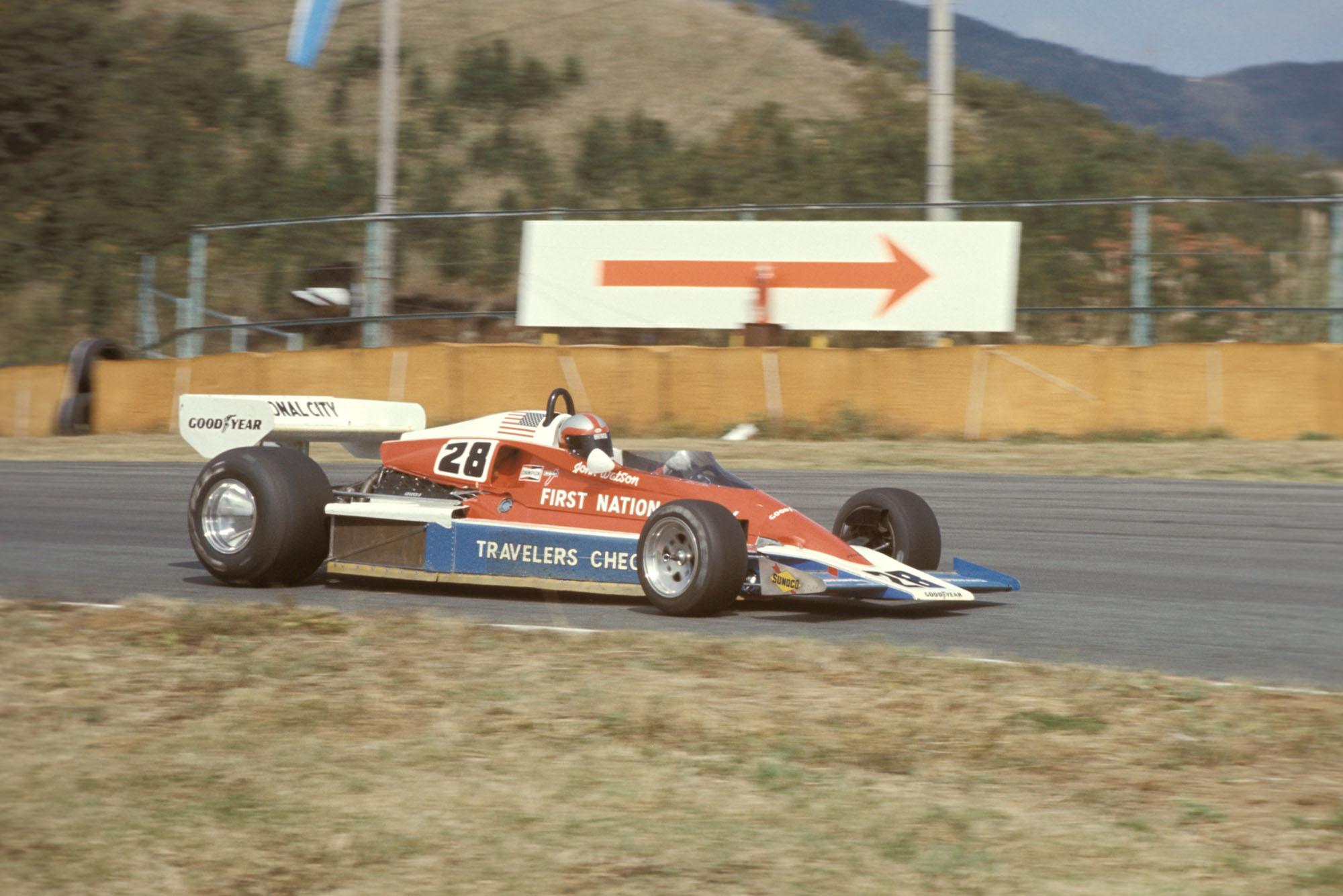 John Watson driving for Penske at the 1976 Japanese Grand Prix, Fuji.