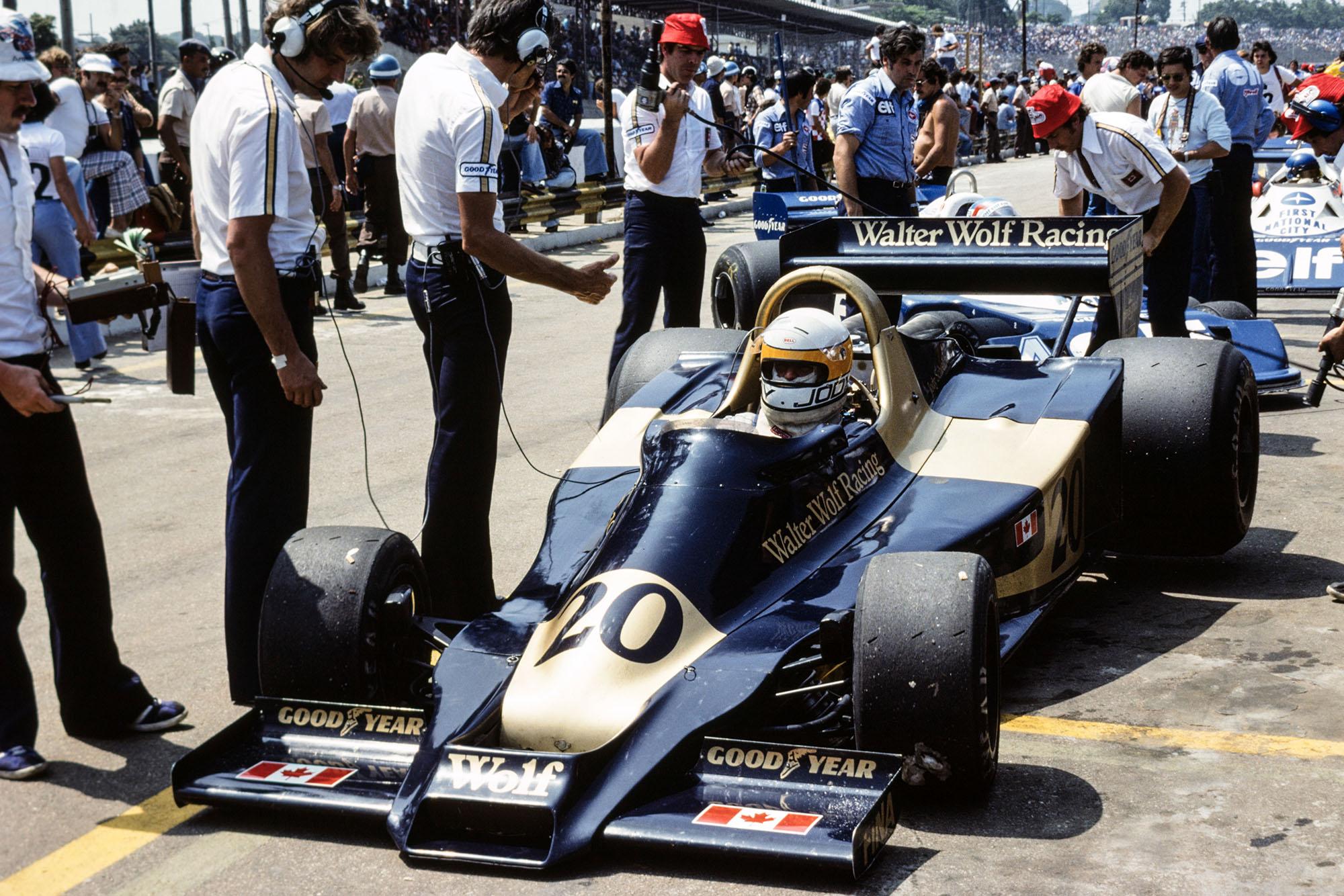 Wolf's Jody Scheckter at the 1977 Brazilian Grand Prix, Interlagos.