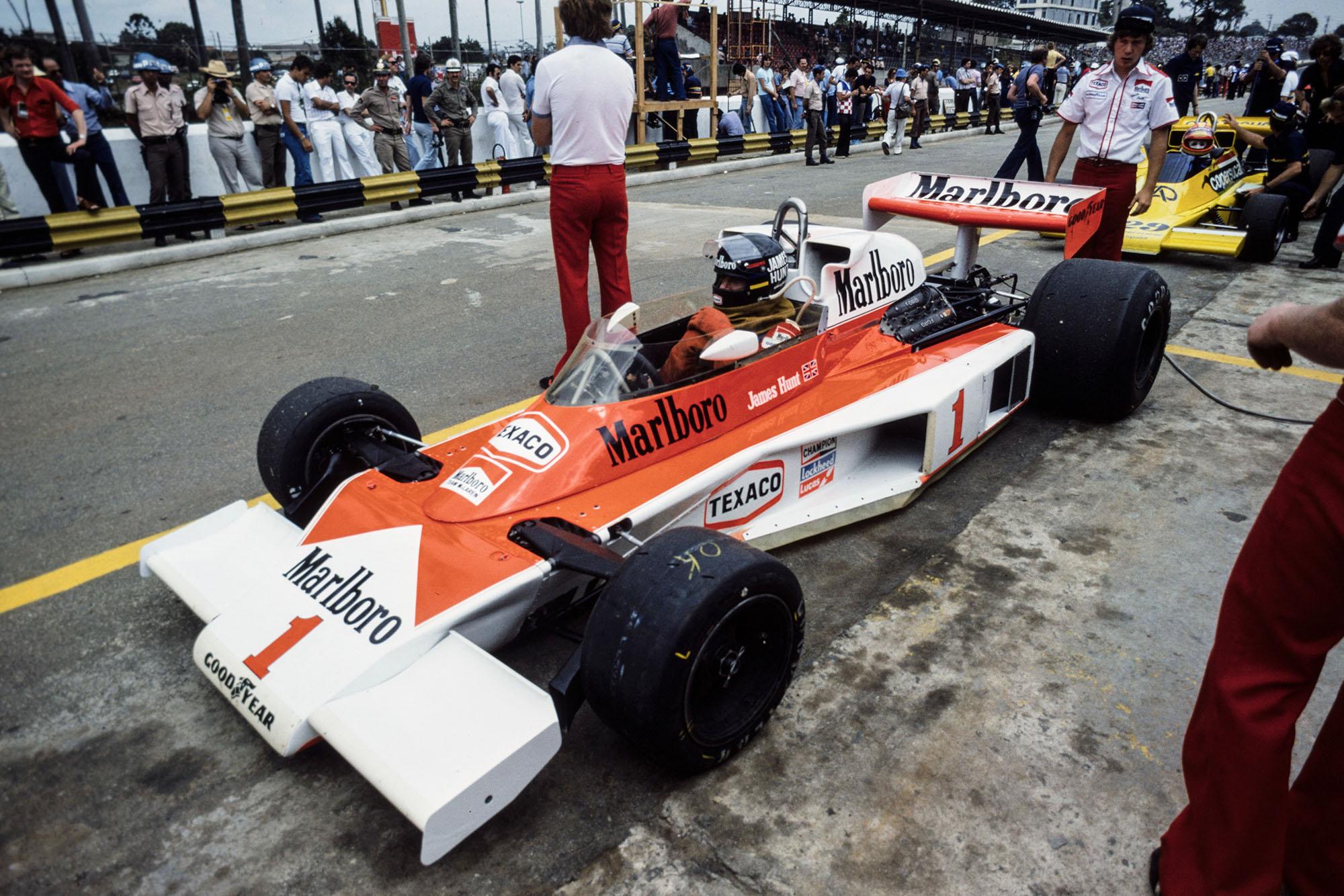 James Hunt (McLaren) at the 1977 Brazilian Grand Prix, Interlagos.
