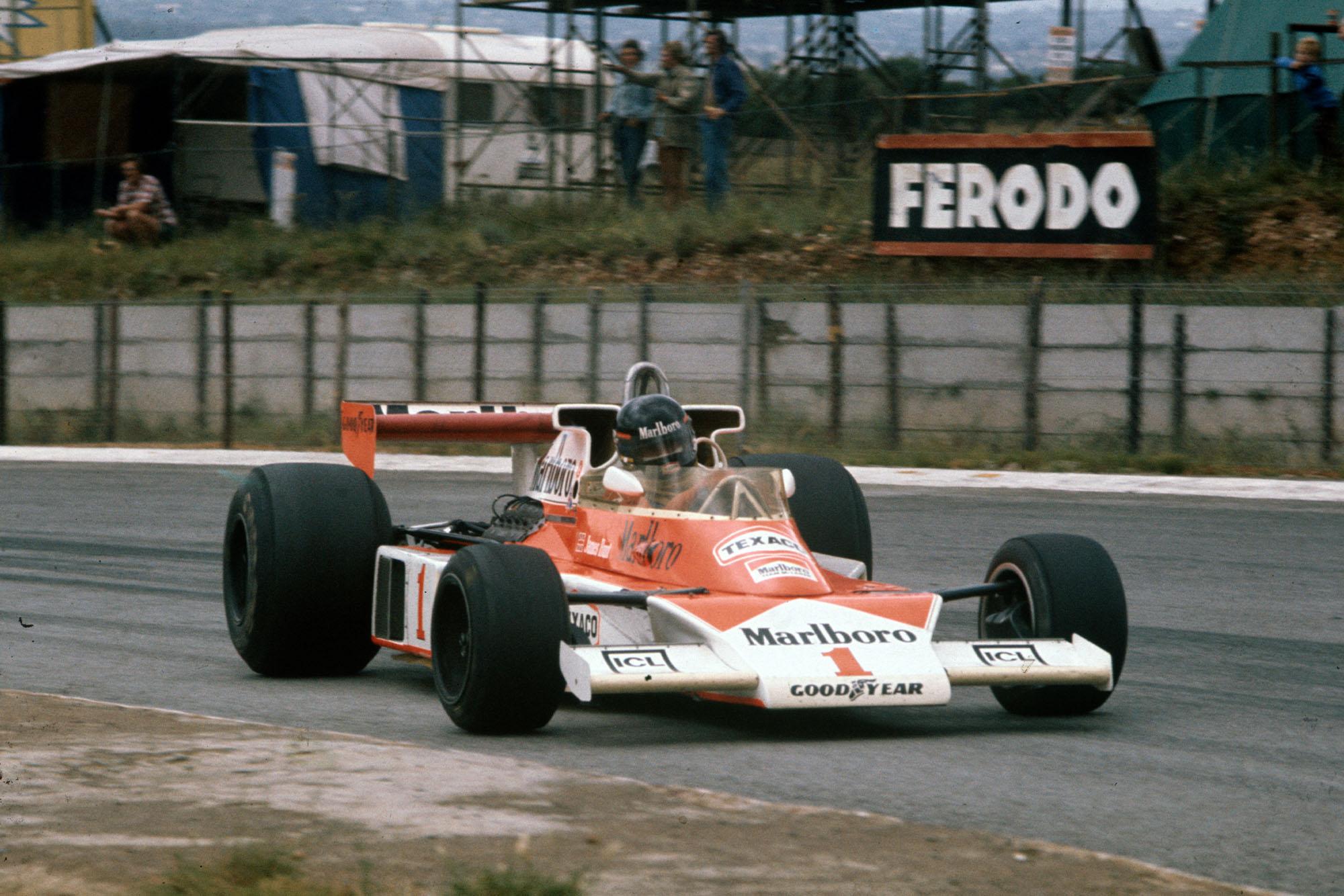 James Hunt (McLAren) driving at the 1997 South African Grand Prix, Kyalami.