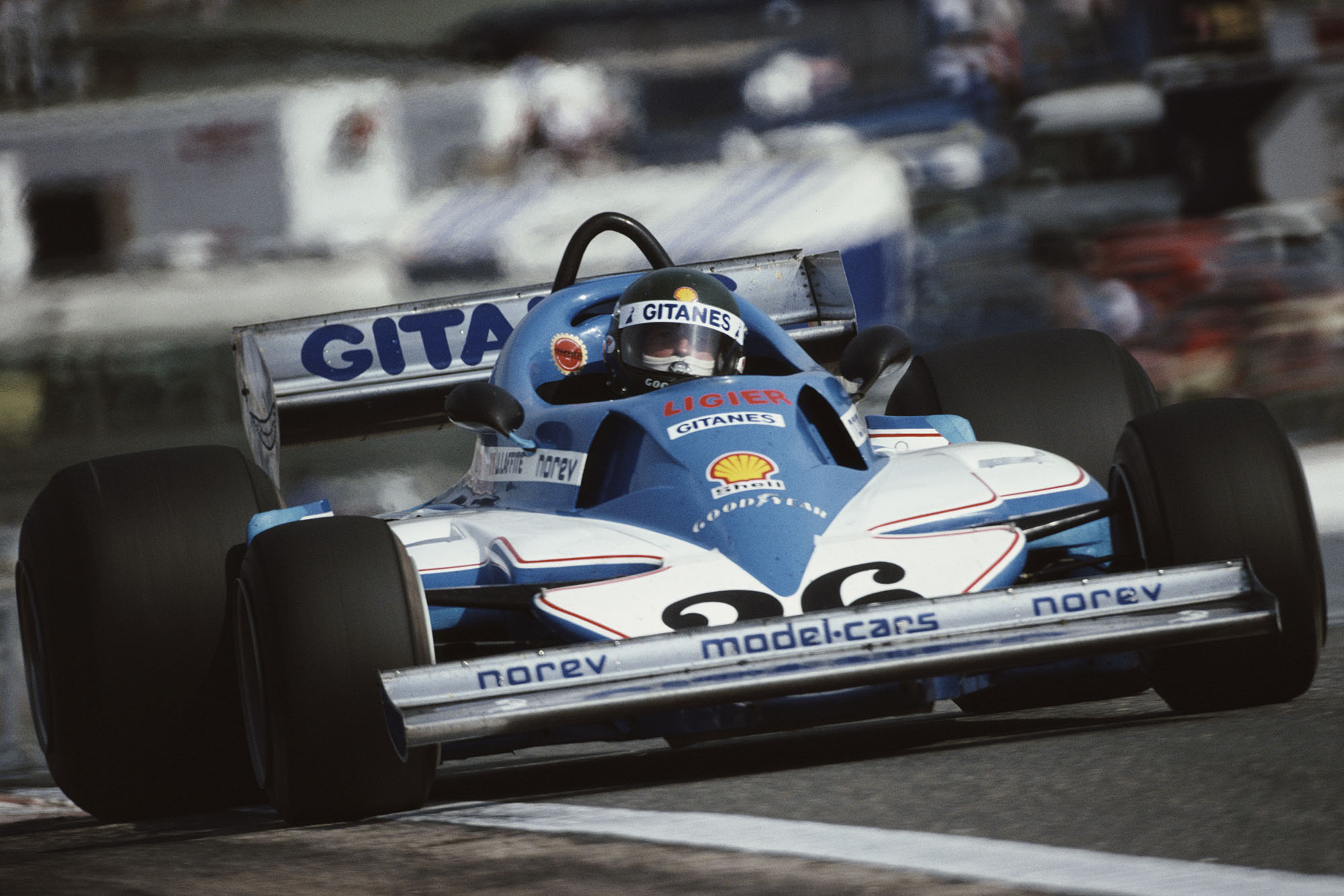 Jacques Laffite (Ligier) at the 1977 Spanish Grand Prix, Jarama.