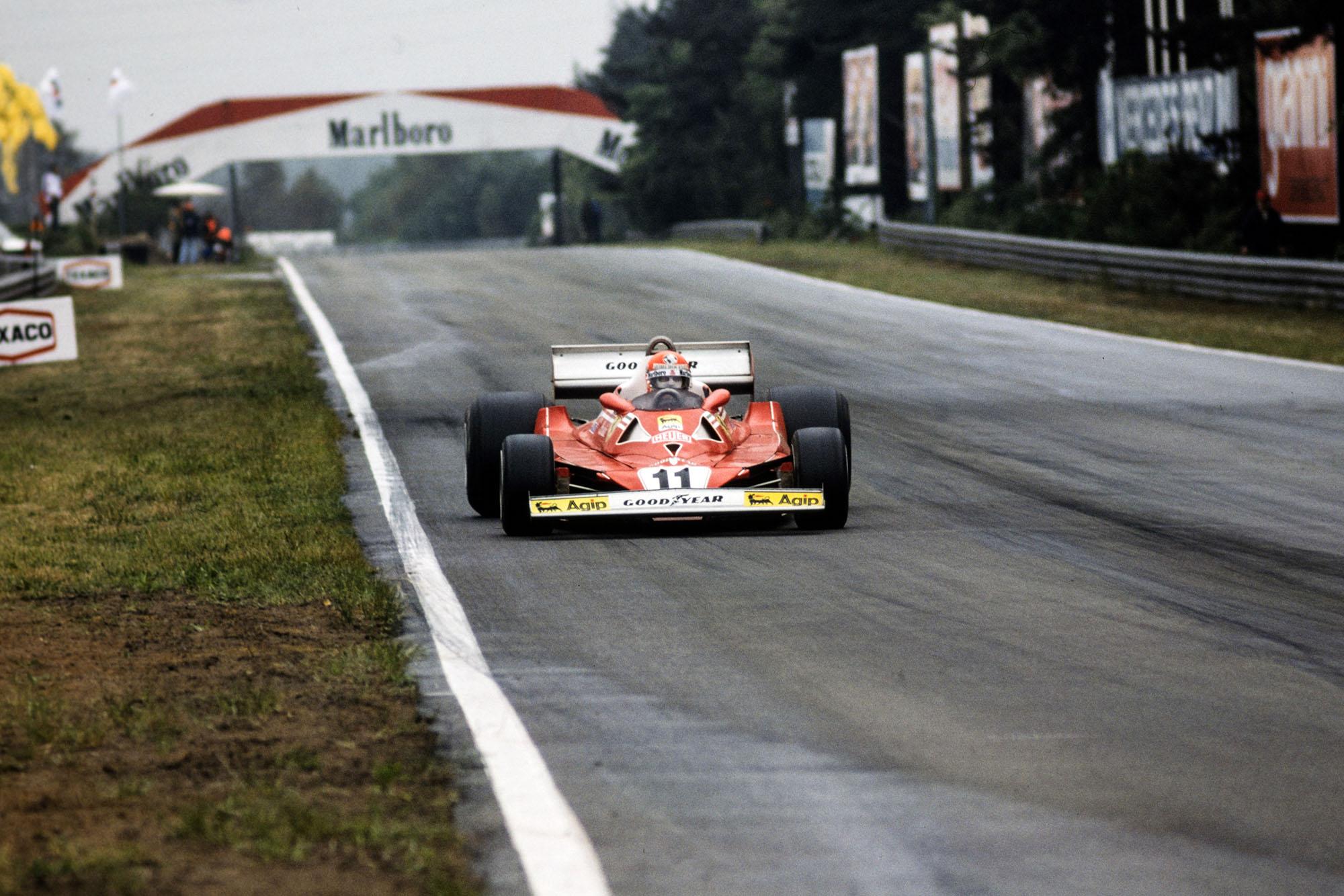 Niki Lauda (Ferrari) at the 1977 Belgian Grand Prix, Zolder.