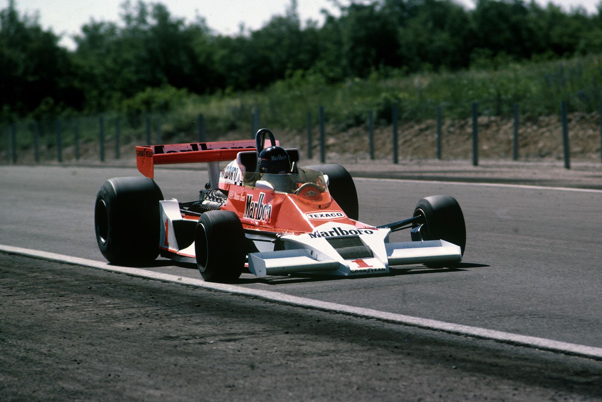 James Hunt (McLaren) at the 1977 French Grand Prix, Dijon.