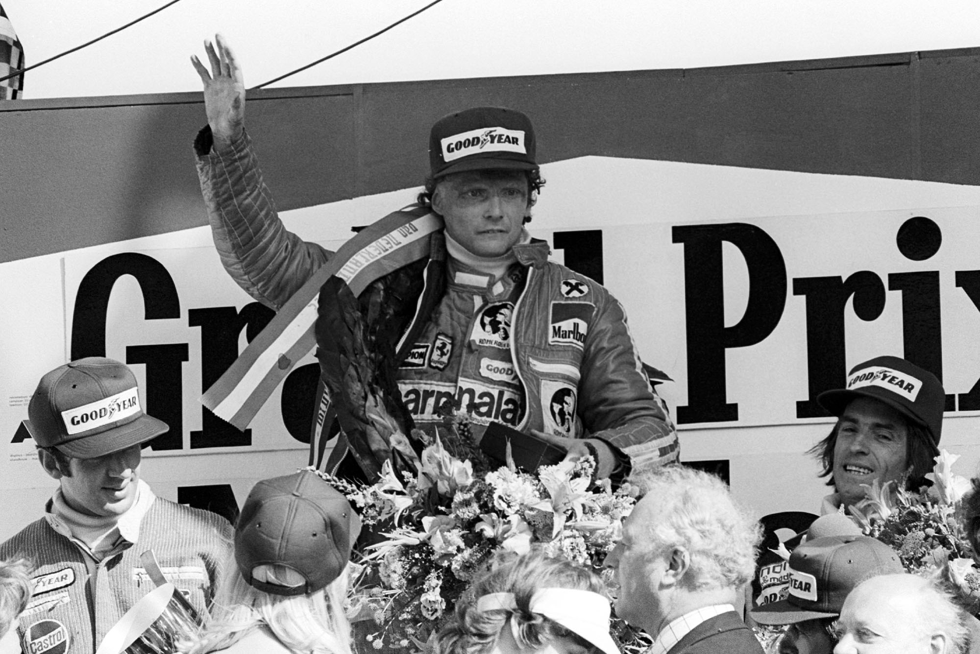 Niki Lauda celebrates winning the 1977 Dutch Grand Prix, Zandvoort.