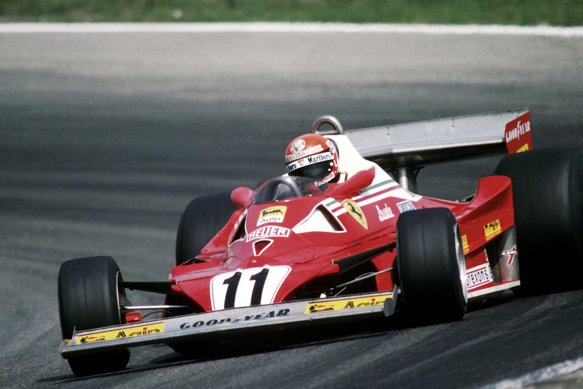 Niki Lauda (Ferrari) driving at the 1977 Dutch Grand Prix, Zandvoort.