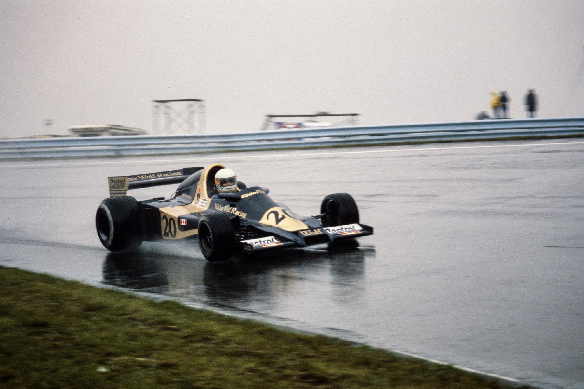 Jody Scheckter (Wolf) driving at the 1977 United States Grand Prix East, Watkins Glen.