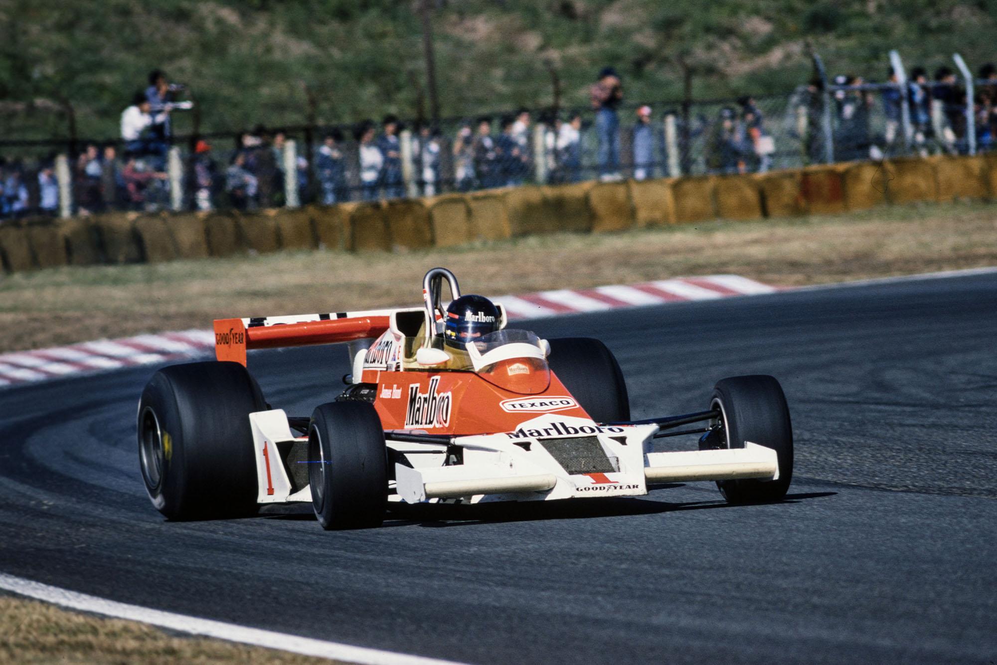 James Hunt (McLaren) driving at the 1977 Japanese Grand Prix, Fuji.
