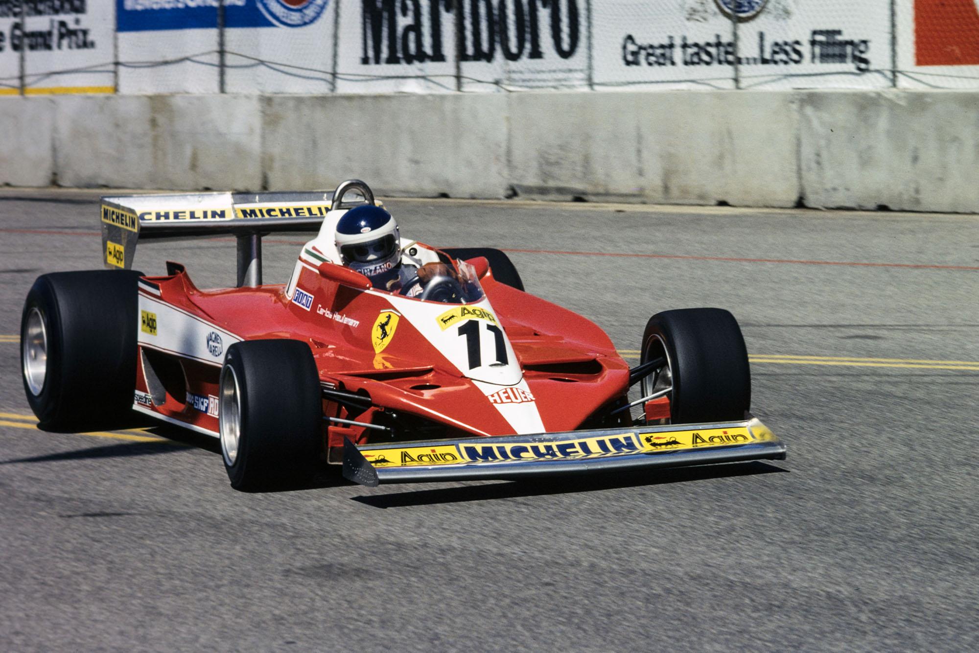 Carlos Reutemann (Ferrari) driving at the 1978 United States Grand Prix West, Long Beach.