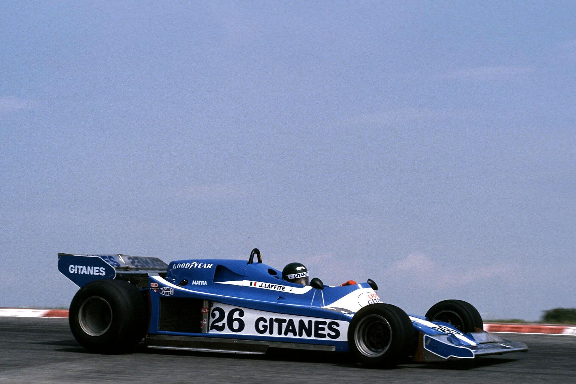 Jacques Laffite (Ligier) racing at the 1978 Spanish Grand Prix, Jarama.