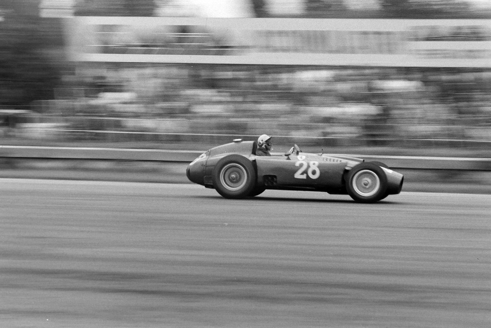 Luigi Musso in his Ferrari/Lancia D50 at the 1956 Italian Grand Prix, Monza