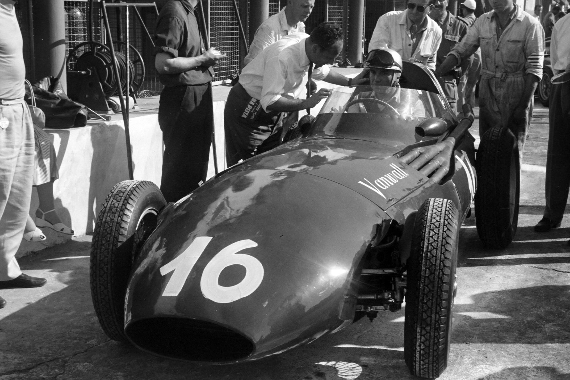 Piero Taruffi in the pits in his Vanwall, 1956 Italian Grand Prix, Monza.