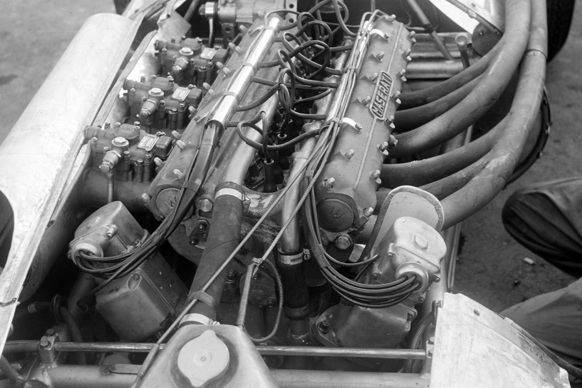 The engine in the Maseratie 250F, Italian Grand Prix, Monza.