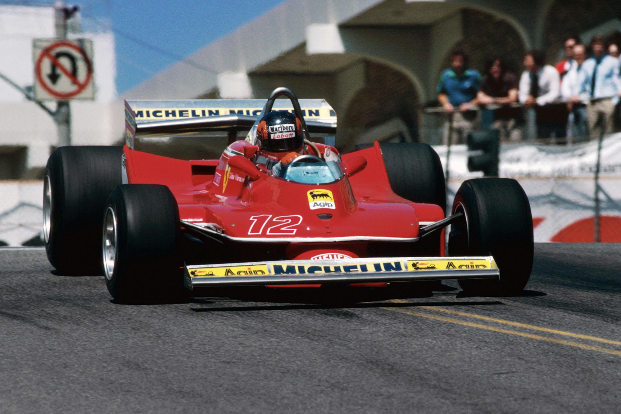 Gilles Villeneuve (Ferrari) driving at the 1979 United States Grand Prix West, Long Beach.