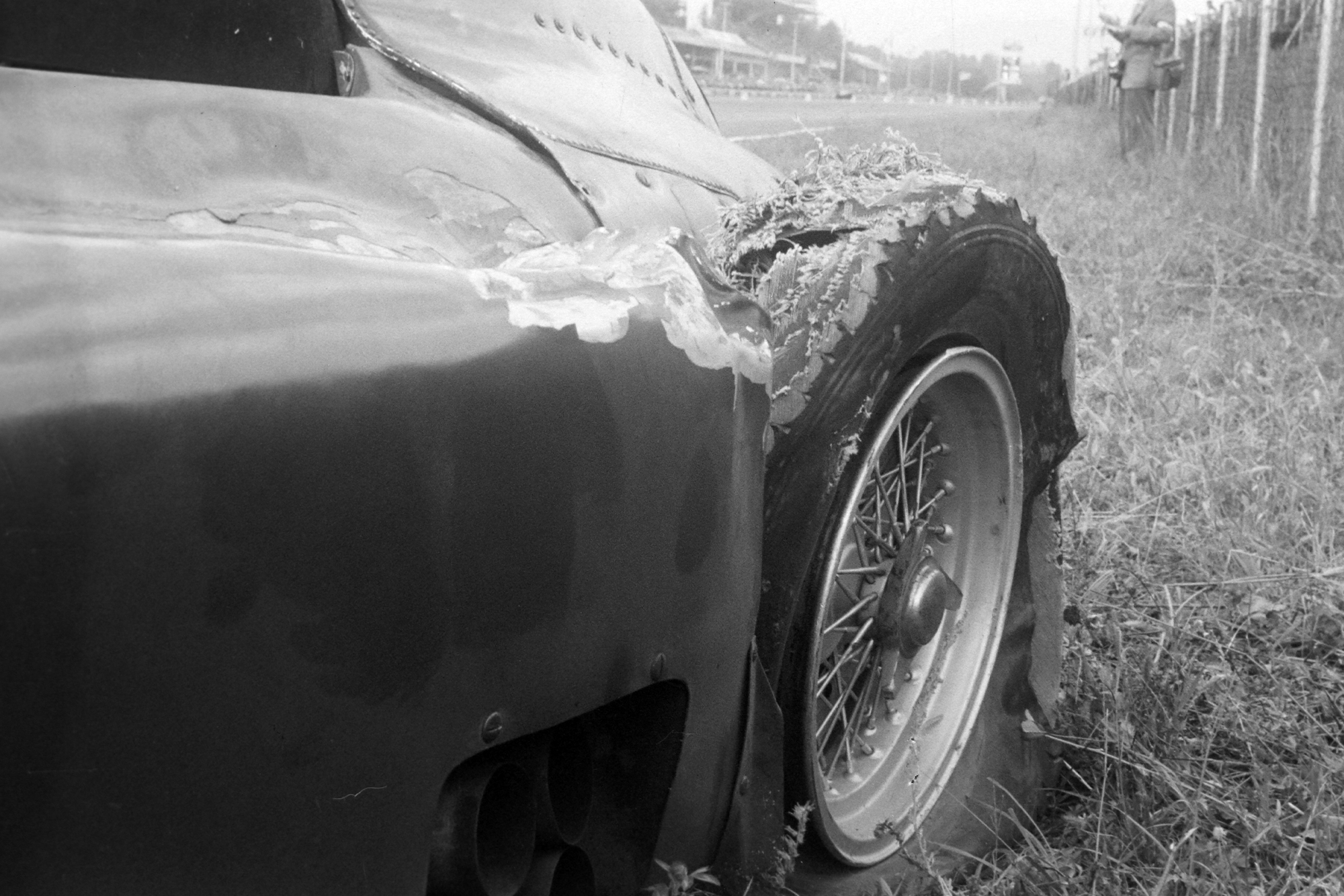 Castellotti's destroyed tyre during the 1956 Italian Grand Prix