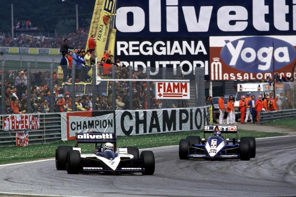 Riccardo Patrese leads Jacques Laffite.