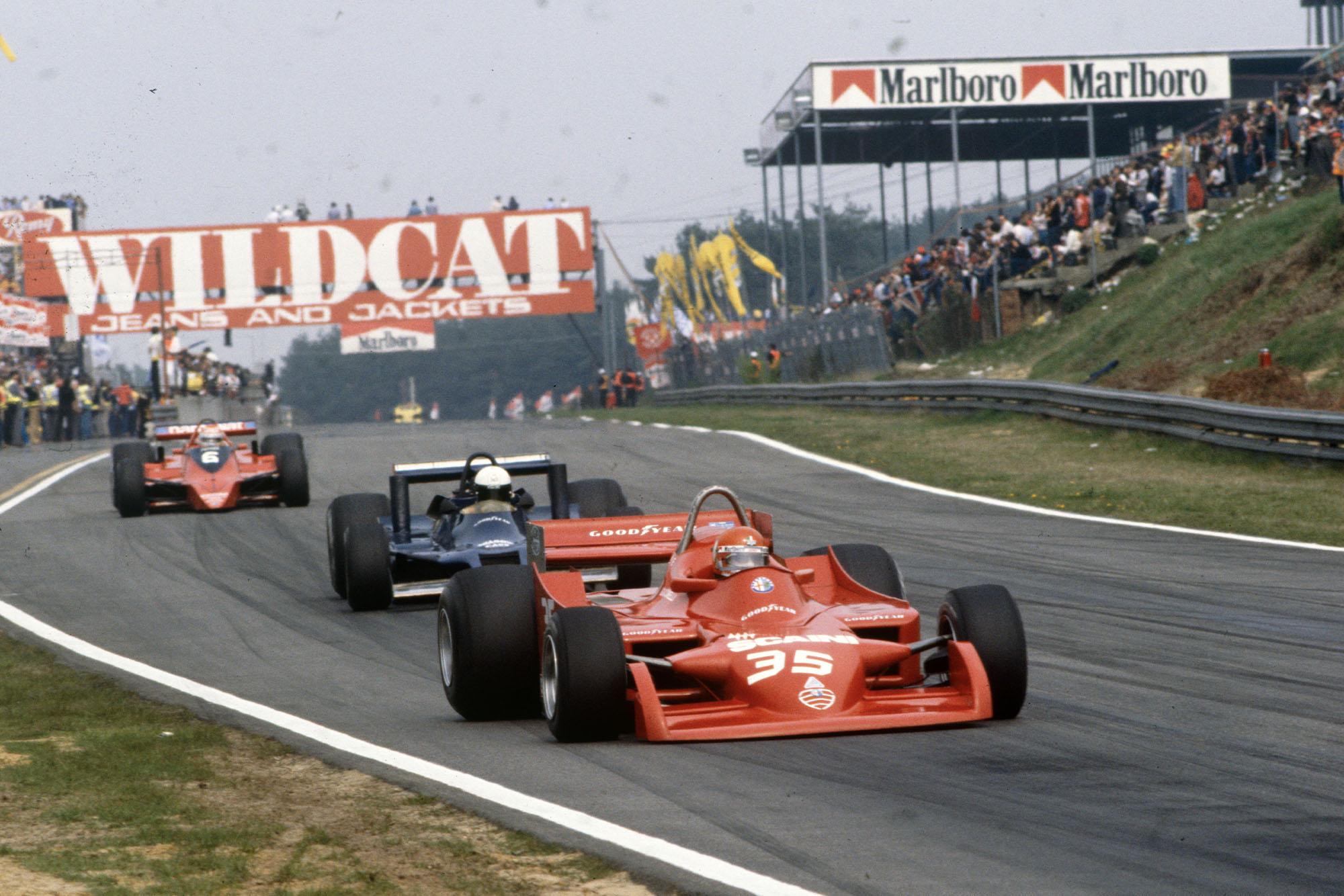 Alfa Romeo's Bruno Giacomelli competing at the 1979 Belgian Grand Prix, Zolder.