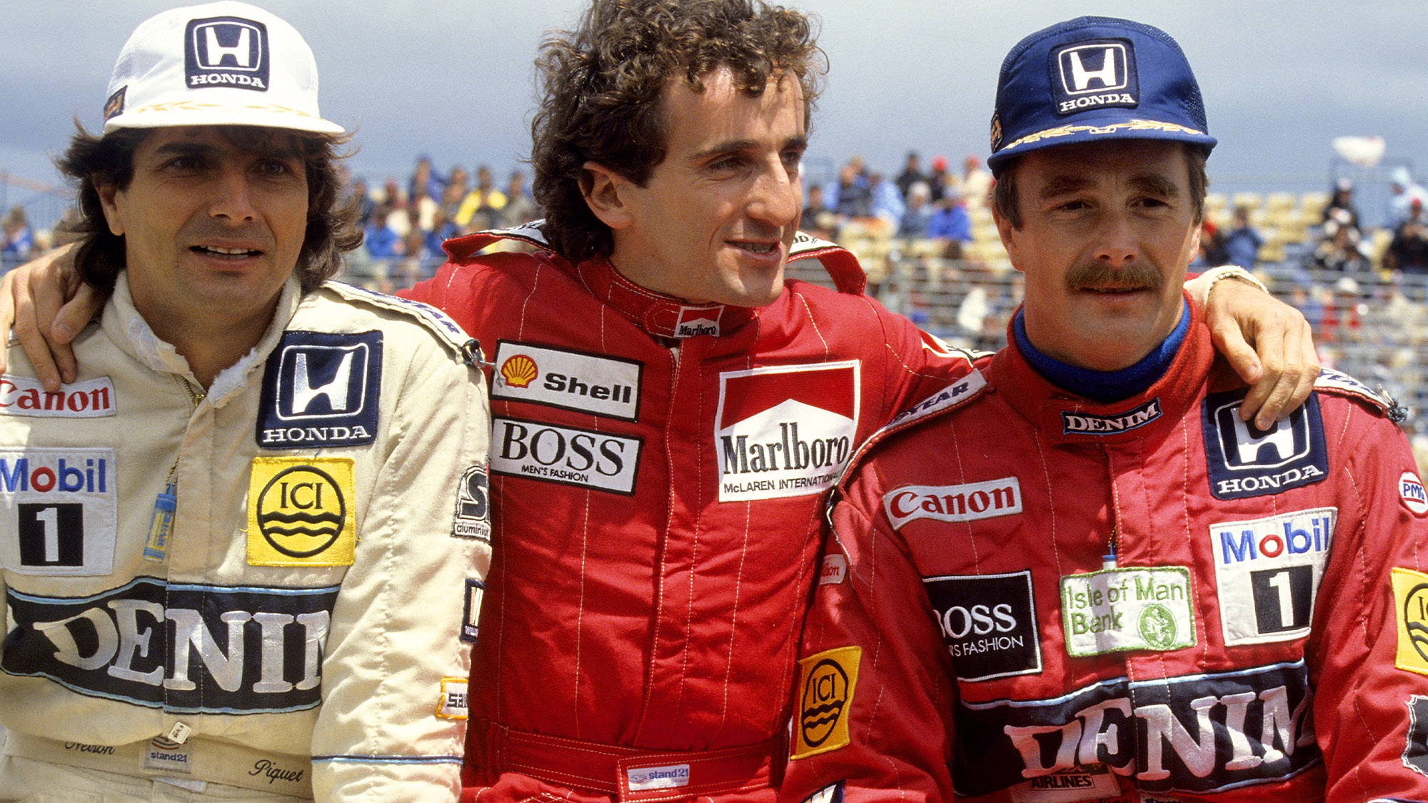 Nelson Piquet, Alain Prost and Nigel Mansell in Adelaide ahead of the 1986 F1 Australian Grand Prix
