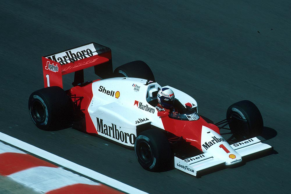 Alain Prost driving his McLaren MP4/2C.