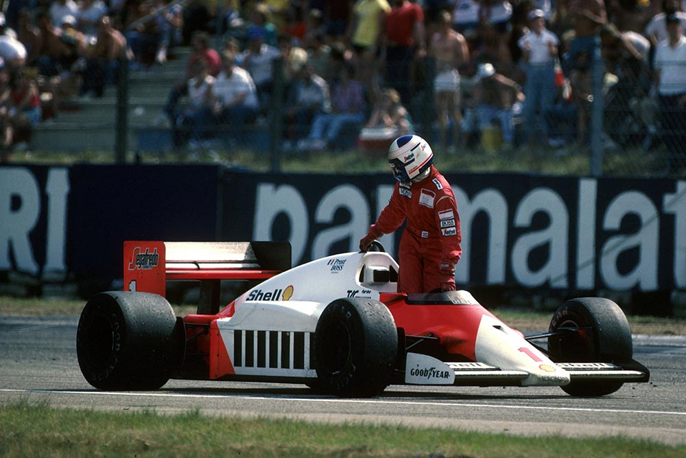 Alain Prost (McLaren MP4/2C) finished in 6th place but ran out of fuel.