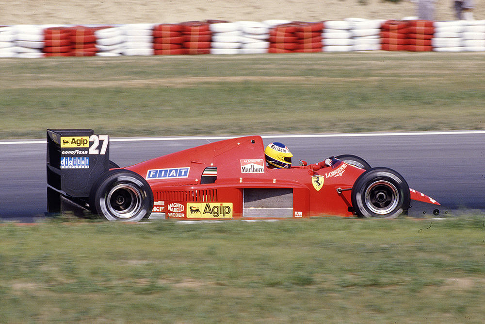 Michele Alboreto at the wheel of his Ferrari F186.