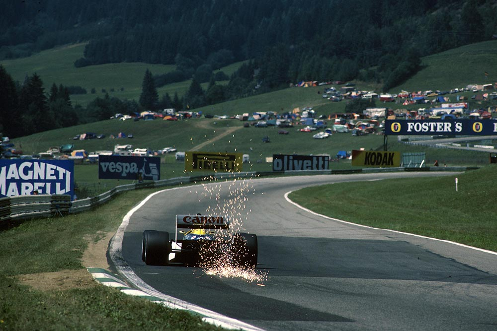 Nelson Piquet in s Williams FW11, did not finish the race.