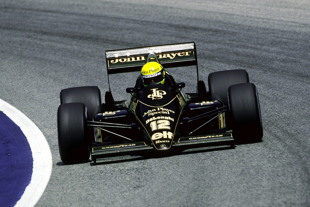 Ayrton Senna, Lotus 98T, retired from the race on lap 14 with a blown engine.