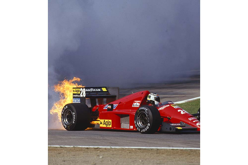 Stefan Johansson's Ferrari F186 engine lets go in a spectacular way during qualifying.