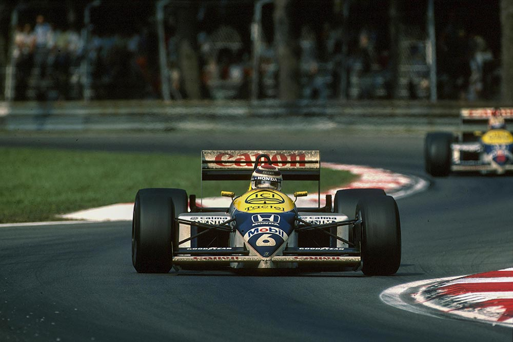 Nelson Piquet at the wheel of his Williams FW11.