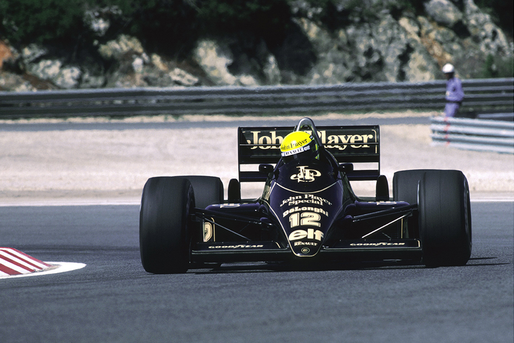 Ayrton Senna in his Lotus 98T finished in 4th place.